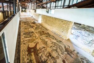 カサーレの別荘大狩猟の廊下のモザイク画の写真素材 [FYI01713555]