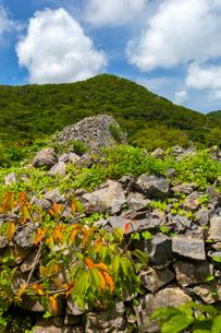 沖縄世界遺産、今帰仁城跡のカーザフ方面の写真素材 [FYI01716171]