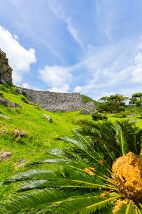 今帰仁城跡、外郭から望む大隅の城壁の写真素材 [FYI01716603]