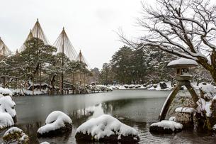 冬の兼六園 霞ヶ池の写真素材 [FYI01716716]