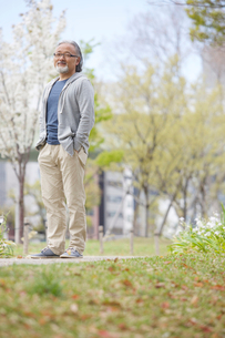 公園を散歩するシニア男性の写真素材 [FYI01717224]
