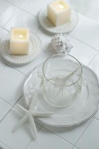 キャンドルと白い貝とひとでの写真素材 [FYI01717277]
