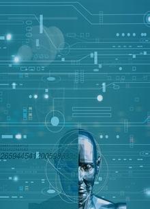 ロボットと回路のイメージ(青) CGのイラスト素材 [FYI01717419]
