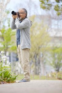 写真を撮影するシニア男性の写真素材 [FYI01717452]