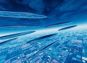ブルーコントラストの未来都市(青) CGのイラスト素材 [FYI01717474]