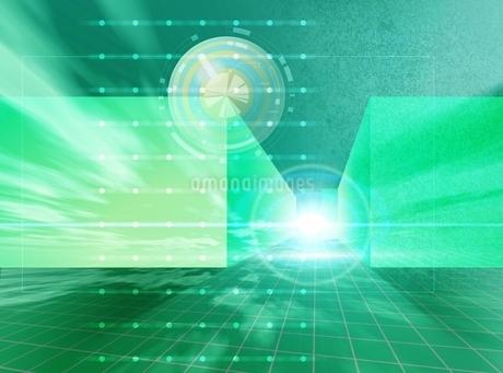 光とキューブと升目(黄緑) CGのイラスト素材 [FYI01717560]