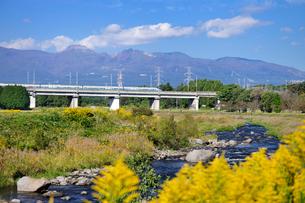 東北新幹線と那須岳と余笹川に咲くセイタカアワダチソウの写真素材 [FYI01717676]