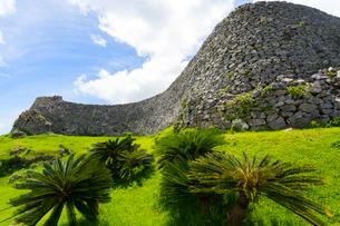 沖縄世界遺産、今帰仁城跡の城壁の写真素材 [FYI01718168]
