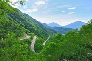 新緑の金精峠(国道120号)と男体山(右)の写真素材 [FYI01719305]