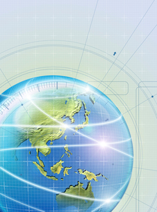 アブストラクト(地球を囲む光線) CGのイラスト素材 [FYI01719449]