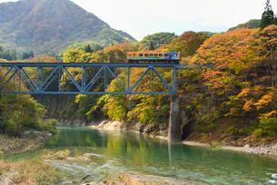 会津鉄道と大川と紅葉の写真素材 [FYI01719620]