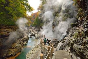 秋の小安峡と遊歩道の写真素材 [FYI01719840]