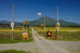 JR磐越西線と踏み切りと磐梯山の写真素材 [FYI01719930]