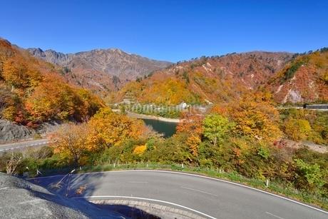 田子倉湖付近の紅葉と浅草岳と国道252号の写真素材 [FYI01720098]