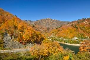 田子倉湖付近の紅葉と浅草岳と国道252号の写真素材 [FYI01720103]