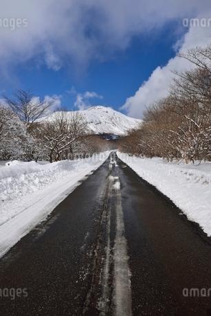 冬のボルケーノハイウェイと茶臼岳の写真素材 [FYI01720362]