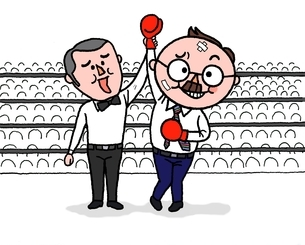 ボクシングで、打たれながらも勝利のシニアサラリ-マンのイラスト素材 [FYI01720617]