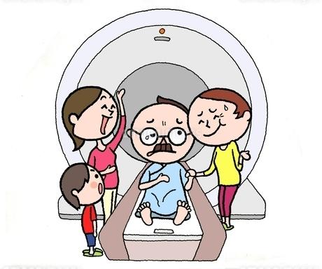 MRI検診で弱気で不安な夫に付き添う妻(シニア)と娘と孫のイラスト素材 [FYI01720668]