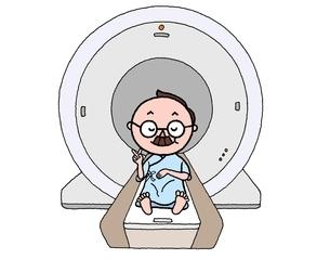 MRI検診で余裕のシニア男性のイラスト素材 [FYI01720678]
