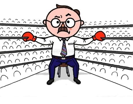 ボクシングのリングで、やる気満々のシニアサラリ-マンのイラスト素材 [FYI01720690]