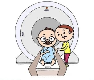 MRI検診でやさしい妻に付き添われ、安心、余裕のシニア男性のイラスト素材 [FYI01720696]