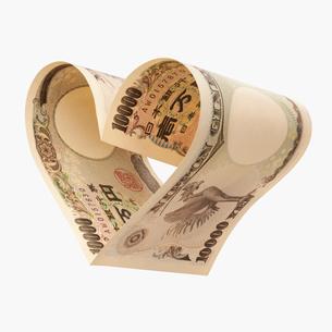 一万円札のハートイメージの写真素材 [FYI01721489]