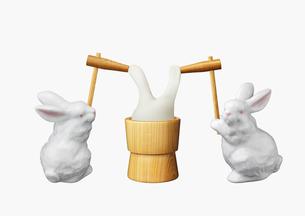 ウサギの餅つきの写真素材 [FYI01724368]