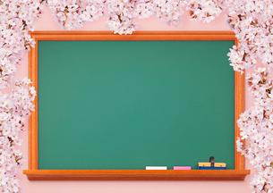 黒板と桜の写真素材 [FYI01724797]