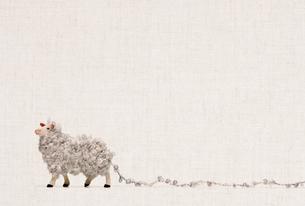 羊毛でふわふわしたひつじのフィギュアの写真素材 [FYI01725121]