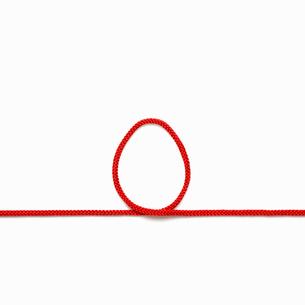 赤い紐でつくったニワトリ(酉)の卵のイメージの写真素材 [FYI01725203]