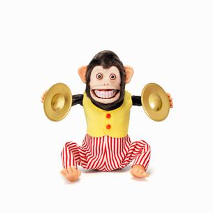 シンバルをたたくサルのおもちゃの写真素材 [FYI01725346]