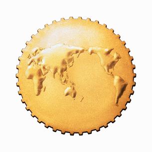 世界地図の歯車の写真素材 [FYI01725568]