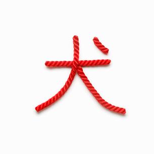 赤い紐でつくった犬の文字の写真素材 [FYI01725615]