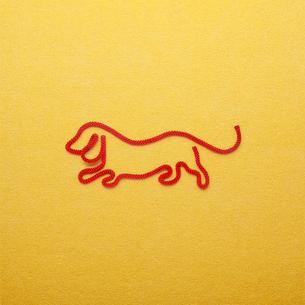 赤い紐でつくった犬(戌)のイメージの写真素材 [FYI01725643]