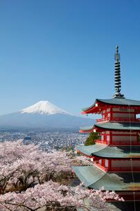 新倉山浅間公園より望む五重塔とサクラと富士山の写真素材 [FYI01725940]