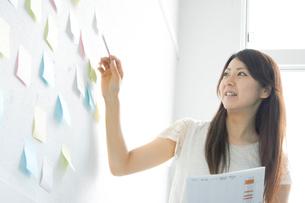 壁に貼られた付箋を指す女性の写真素材 [FYI01726122]