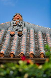 屋根上にいるシーサーの写真素材 [FYI01726334]