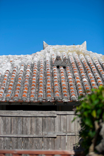 屋根上にいるシーサーの写真素材 [FYI01726422]