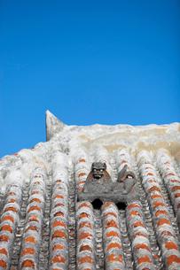 屋根上にいるシーサーの写真素材 [FYI01726658]