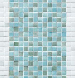 青色と白色のモザイクタイルの写真素材 [FYI01726728]