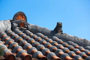 屋根上にいるシーサーの写真素材 [FYI01727039]