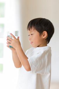 室内でコップの水を観察する子供の写真素材 [FYI01727803]