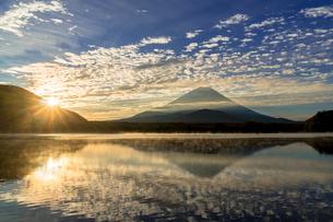 朝の精進湖より富士山の写真素材 [FYI01731862]