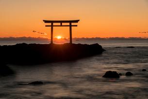 大洗海岸の神磯の鳥居に上る朝日の写真素材 [FYI01732163]
