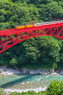 新山彦橋を行く黒部峡谷鉄道の写真素材 [FYI01732899]