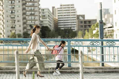 橋を歩く親子の写真素材 [FYI01733115]
