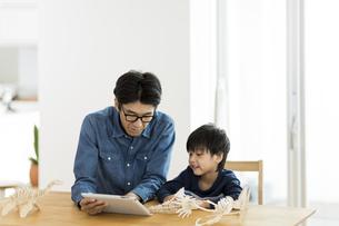 恐竜の模型で遊ぶ親子の写真素材 [FYI01733145]
