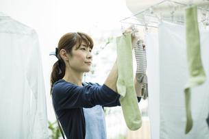 洗濯物を干す女性の写真素材 [FYI01733172]