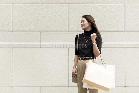 ショッピングバッグを持つ若い女性の写真素材 [FYI01733182]