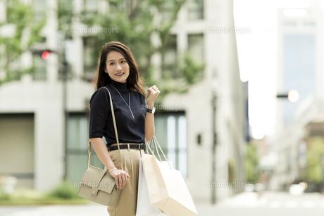 ショッピングバッグを持つ若い女性の写真素材 [FYI01733193]